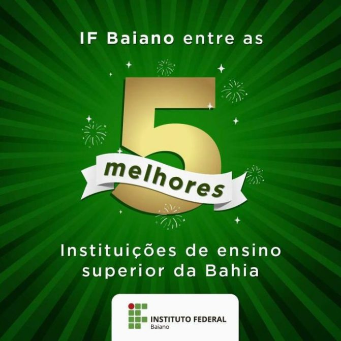 IF Baiano está entre as cinco melhores instituições de Ensino Superior do Estado