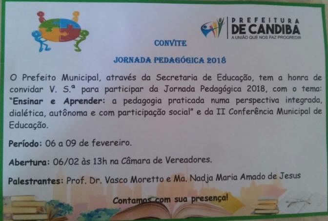 Candiba: Secretaria de Educação promove abertura da Jornada Pedagógica 2018 nesta terça(06)