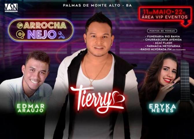 Cantor e compositor Tierry se apresenta em Palmas de Monte Alto nesta sexta-feira (11)