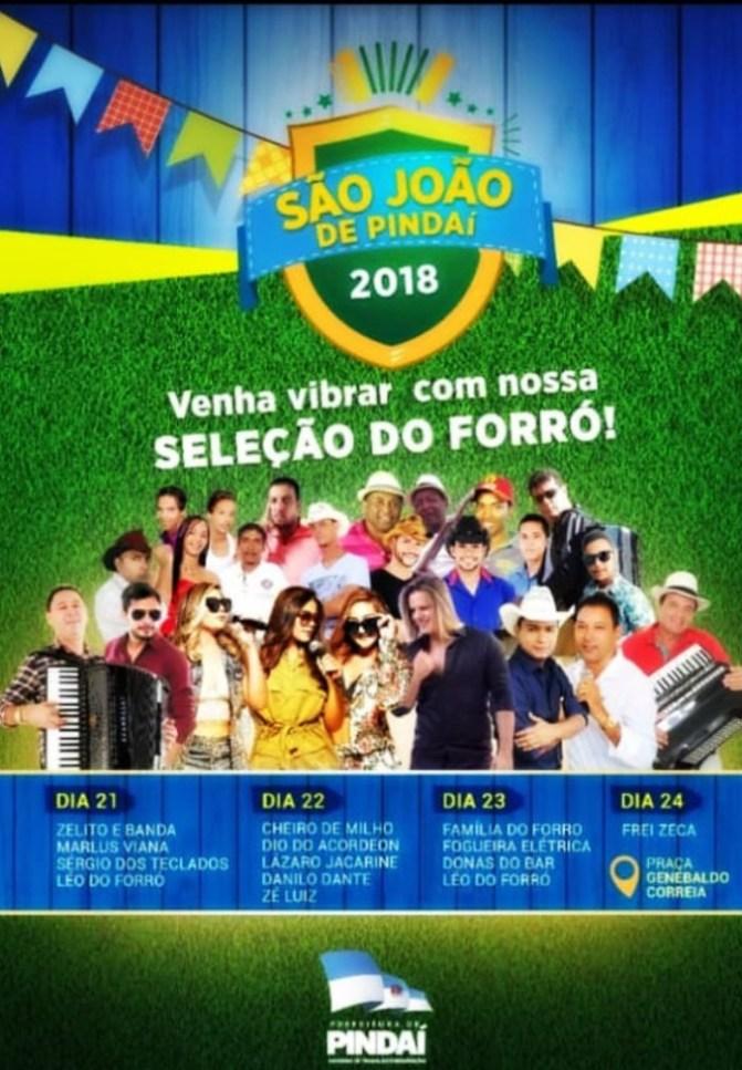 Prefeitura de Pindaí divulga programação oficial do São João 2018
